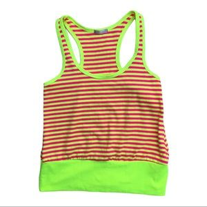 Lux neon yellow pink striped racerback tank top